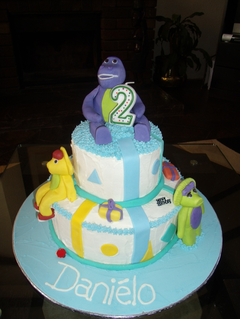 2 Tiered Barney Birthday Cake - Novelty Cakes for Parties